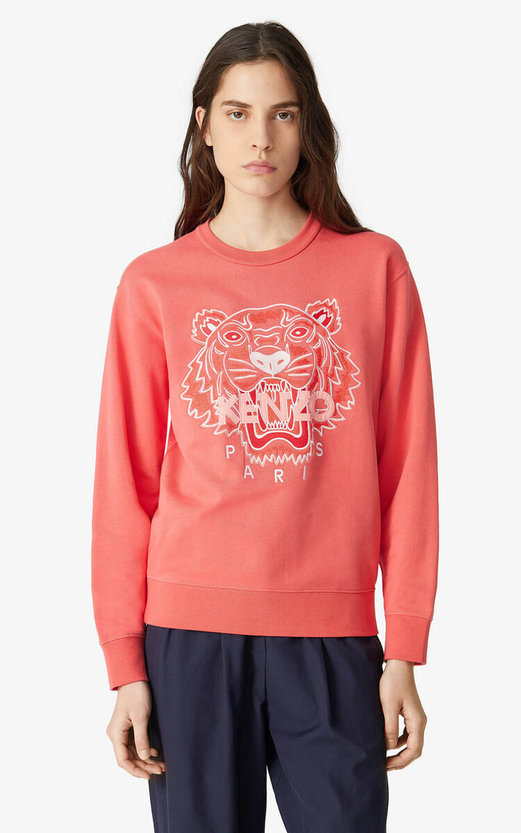 RED ORANGE Tiger sweatshirt for women KENZO