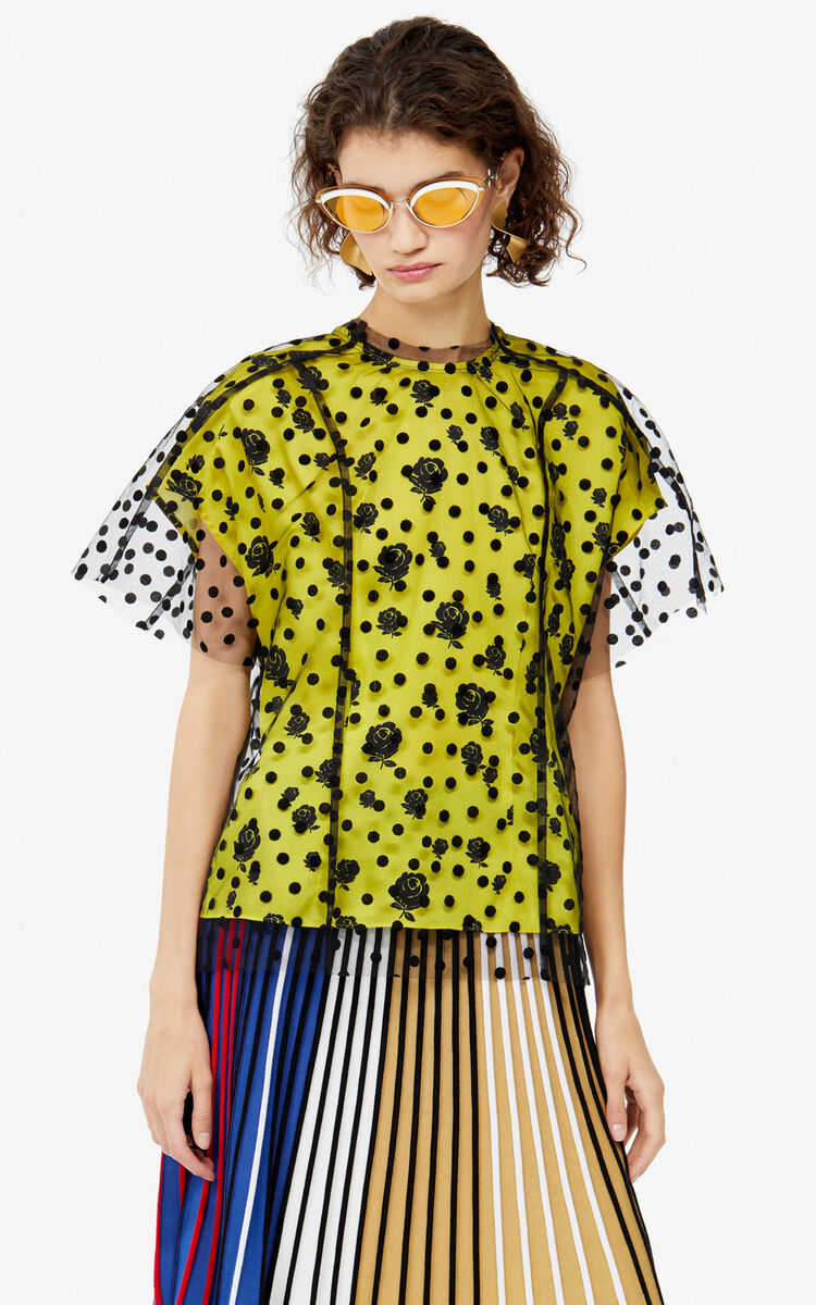 BLACK 'Polka dots & 'Roses' top for women KENZO