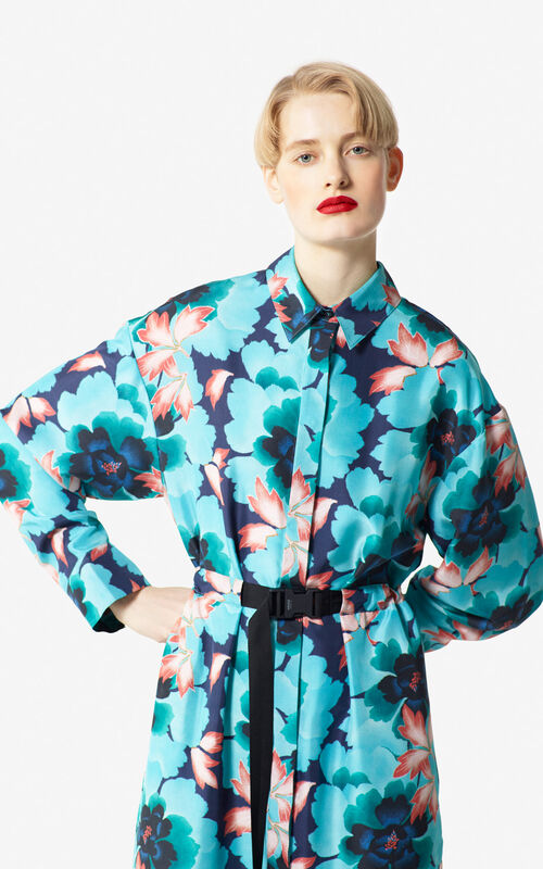 NAVY BLUE 'Indonesian Flower' silk shirt dress for women KENZO