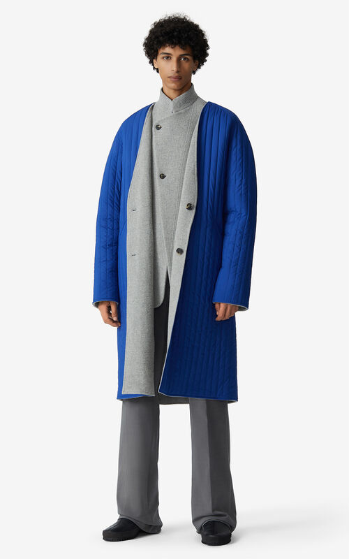 PALE GREY Reversible wool coat for men KENZO