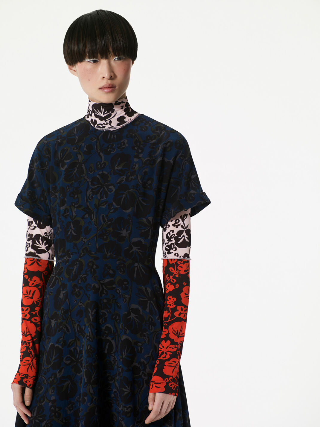 DEEP SEA BLUE 'Floral Leaf' Dress in Crepe for women KENZO