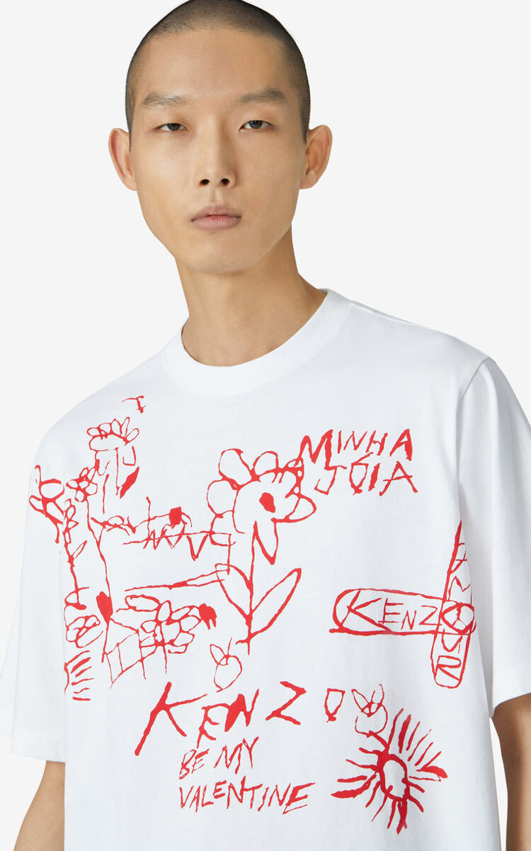 WHITE Valentine's Day Capsule 'Valentine's flowers' oversize T-shirt for men KENZO