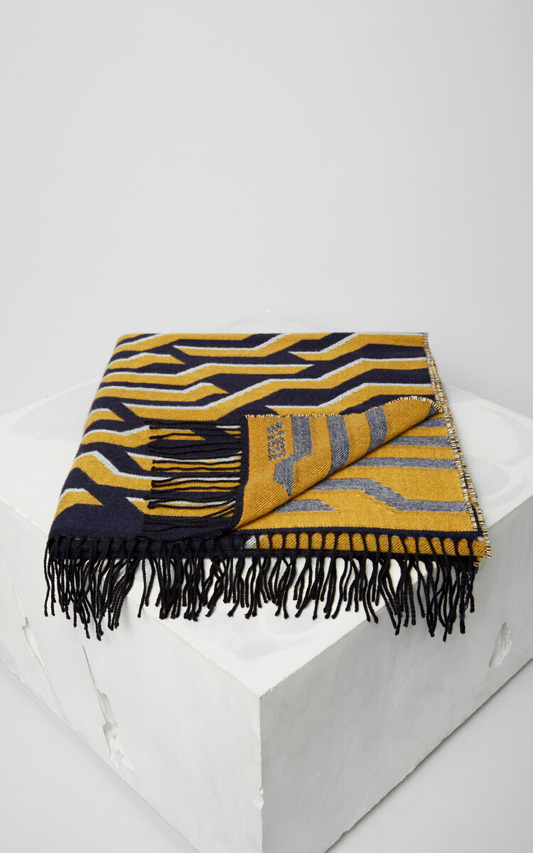 MIDNIGHT BLUE Geo Tiger Wool Scarf for unisex KENZO
