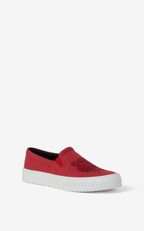 DEEP FUSCHIA Canvas slip-on K-Skate Tiger sneakers for unisex KENZO