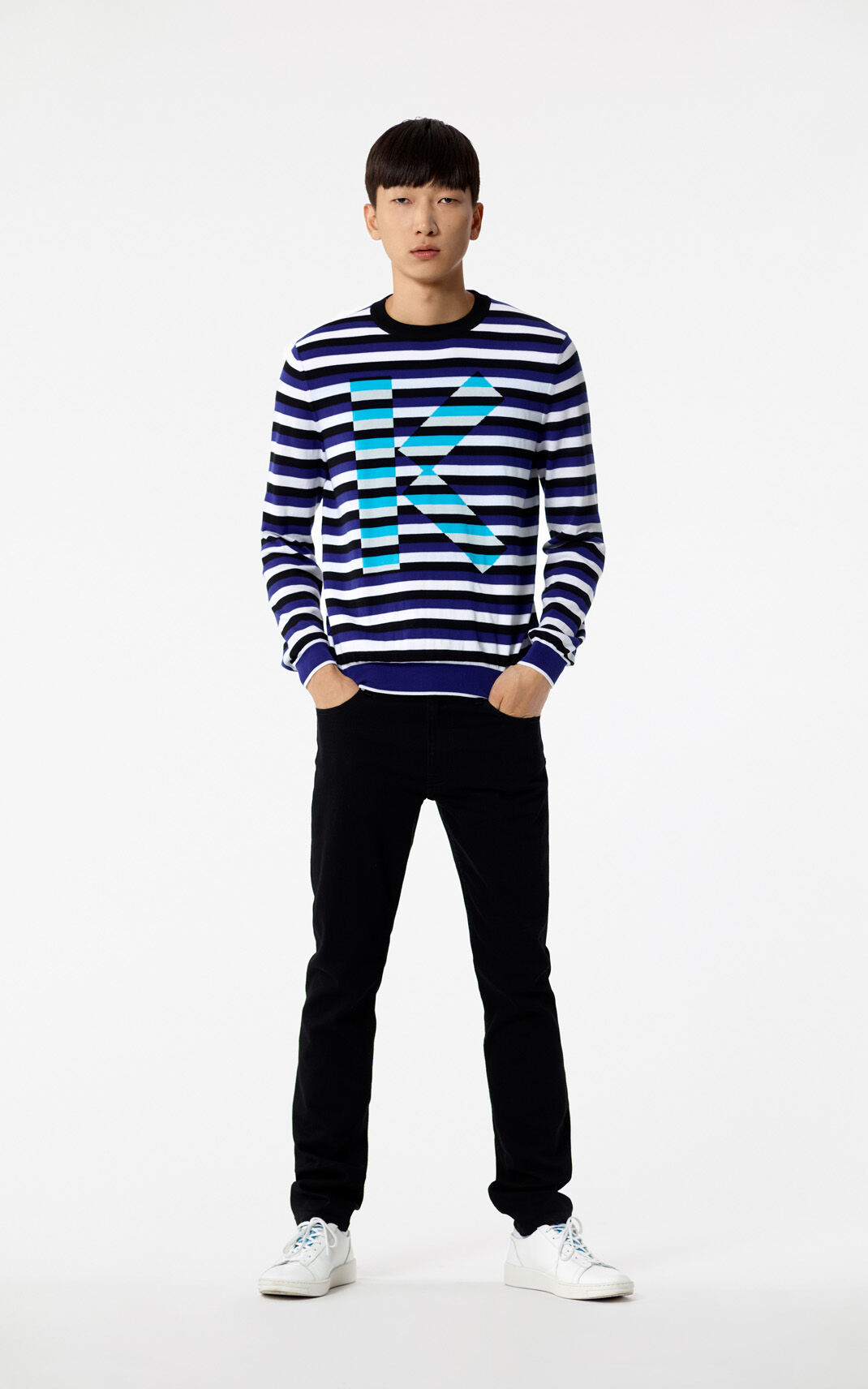 FRENCH BLUE 'K' Striped jumper for women KENZO
