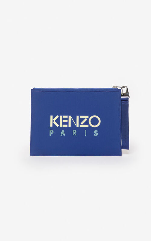 NAVY BLUE Tiger A4 neoprene clutch for unisex KENZO