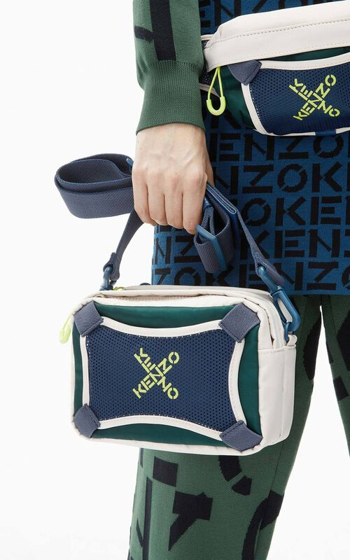 PALE GREY KENZO Sport bag with strap for men