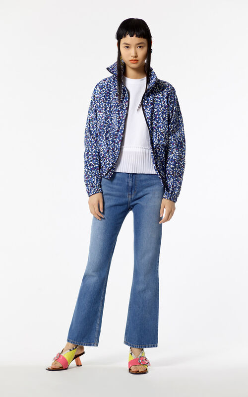 NAVY BLUE 'Jackie Flowers' windbreaker jacket for women KENZO