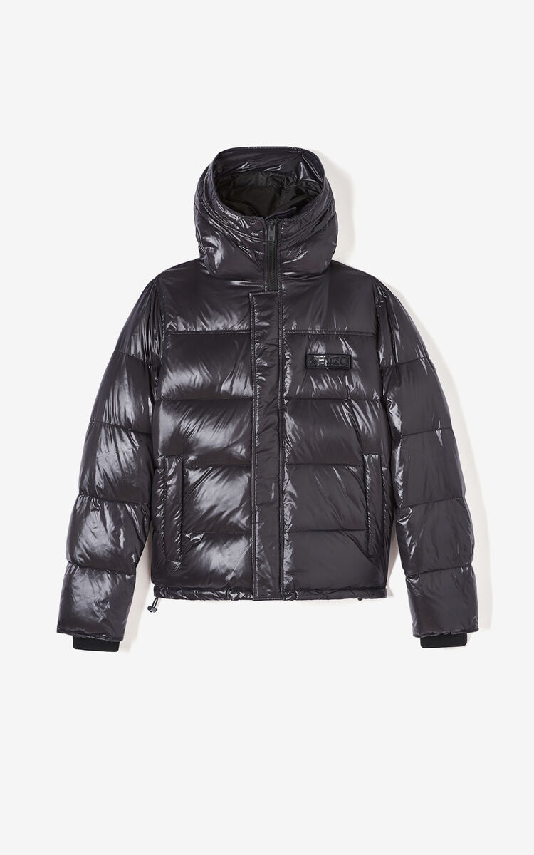 BLACK Hooded padded puffer jacket for women KENZO