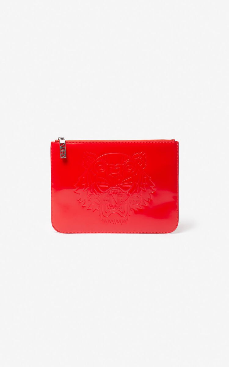 MEDIUM RED Tiger A4 clutch for unisex KENZO