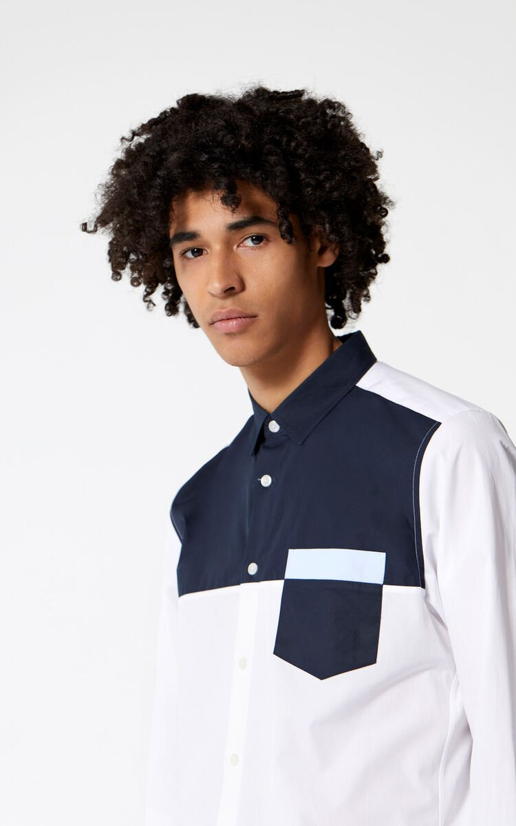 WHITE Two-Tone Shirt for men KENZO
