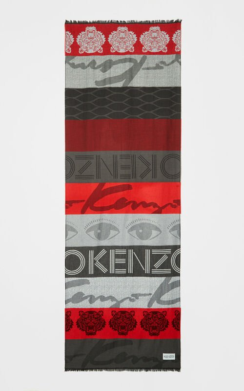 MEDIUM RED Multi icon scarf for unisex KENZO