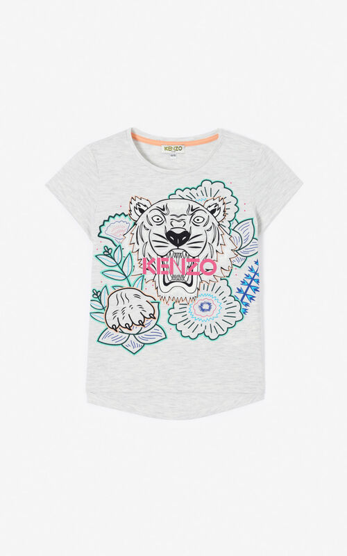 PALE GREY 'Disco Jungle' Tiger T-shirt for unisex KENZO