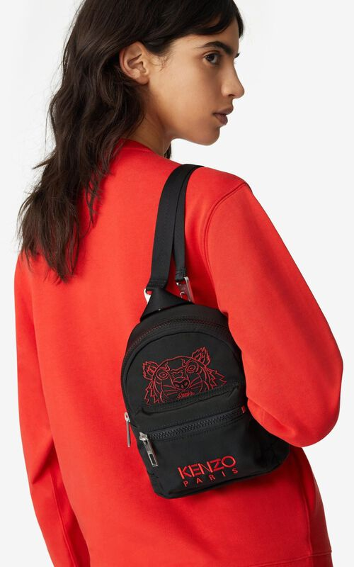 BLACK 'Chinese New Year Capsule' Kampus Tiger canvas mini rucksack for women KENZO