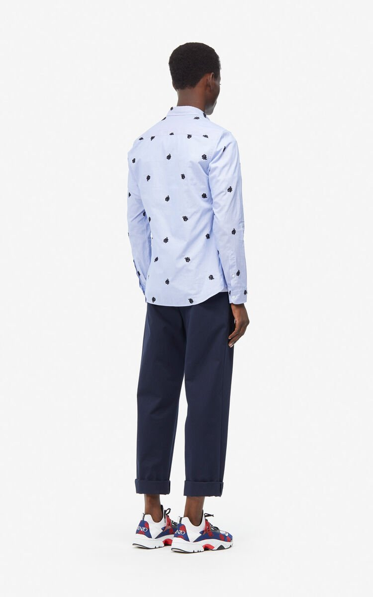 SKY BLUE 'Roses' slim-fit shirt for men KENZO
