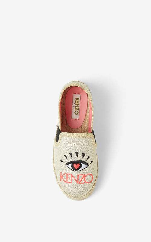 GOLD 'KENZO Party' Eye espadrilles for unisex