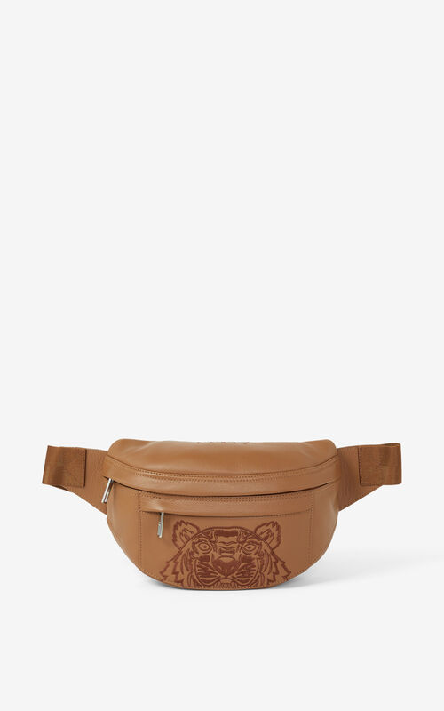 TABAC Kampus Tiger grained leather belt bag for unisex KENZO