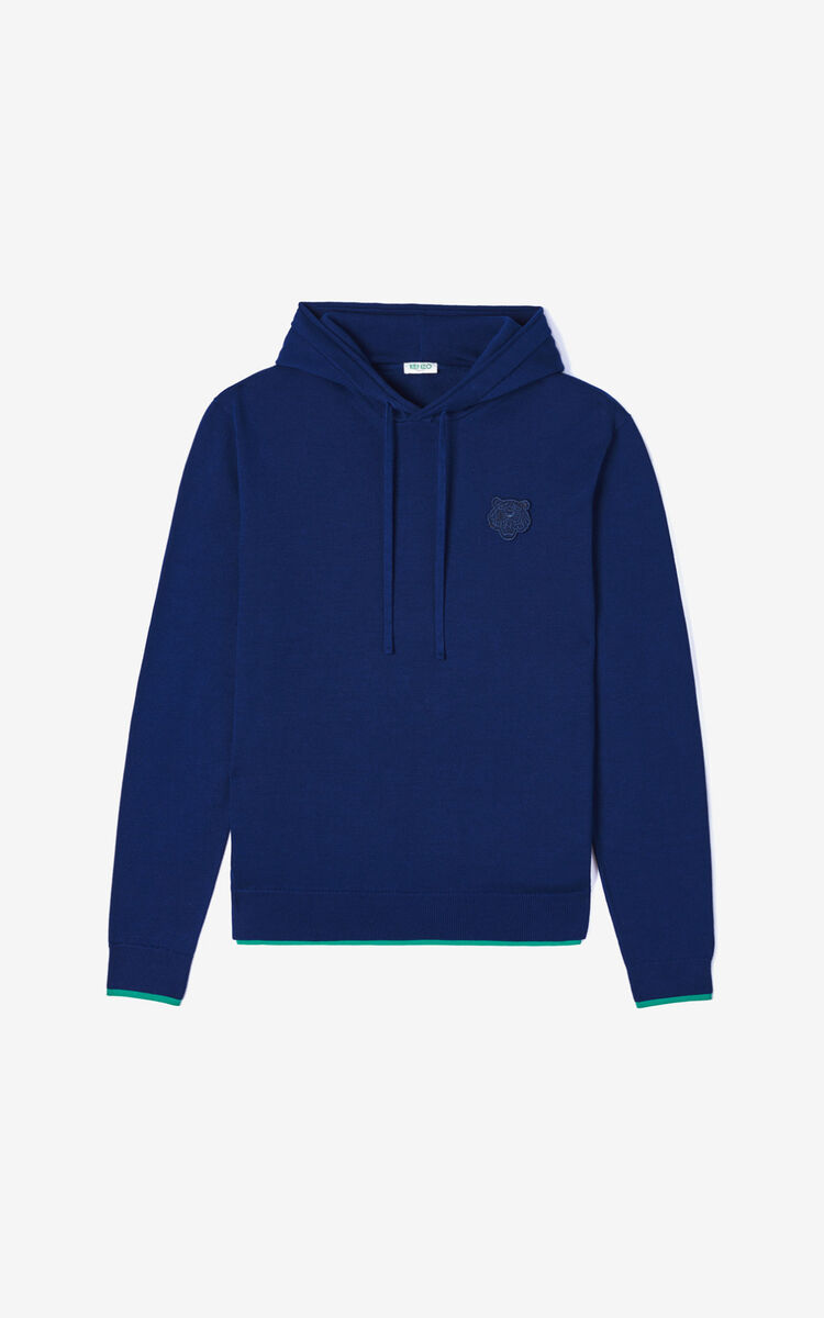 MIDNIGHT BLUE Tiger hooded jumper for men KENZO