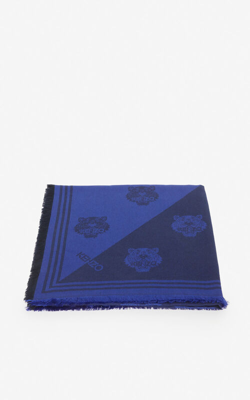 NAVY BLUE Large two-tone Tiger scarf for unisex KENZO
