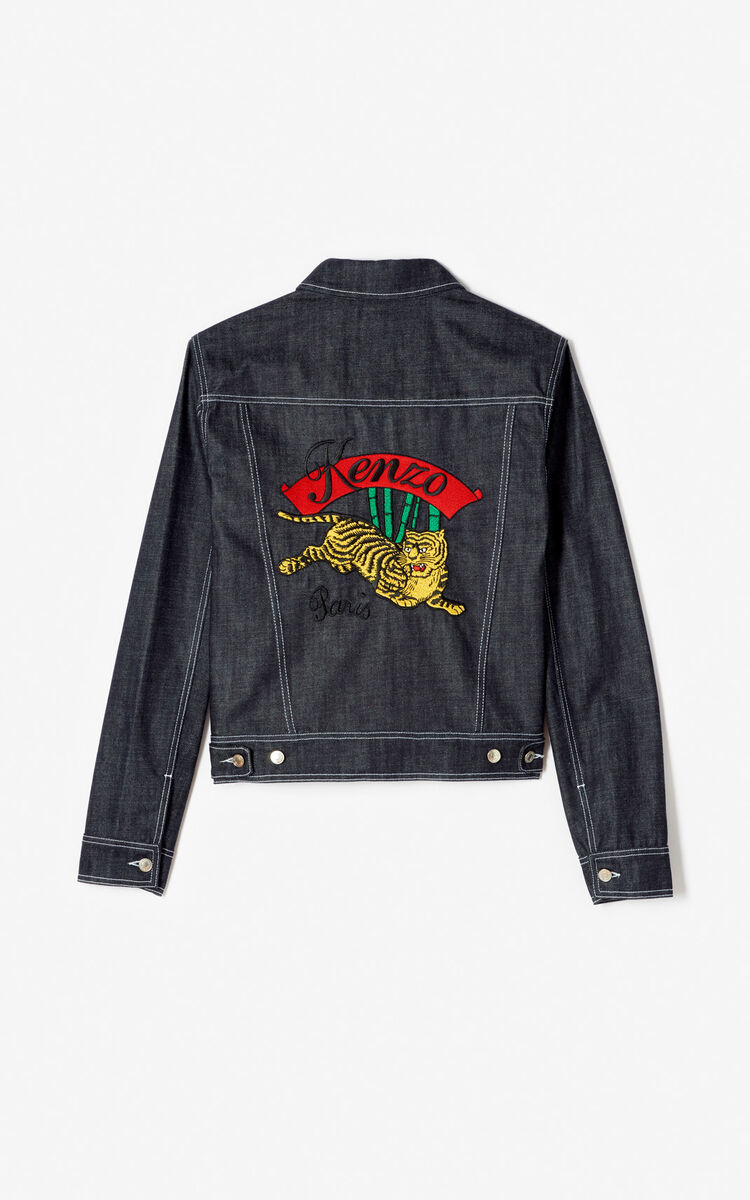 NAVY BLUE 'Bamboo Tiger' denim jacket for men KENZO