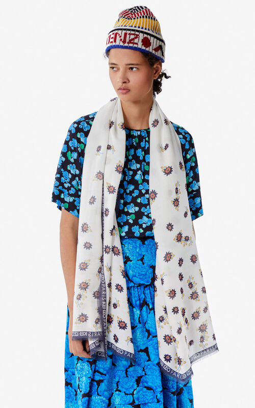 WHITE 'Passion Flowers' scarf for women KENZO