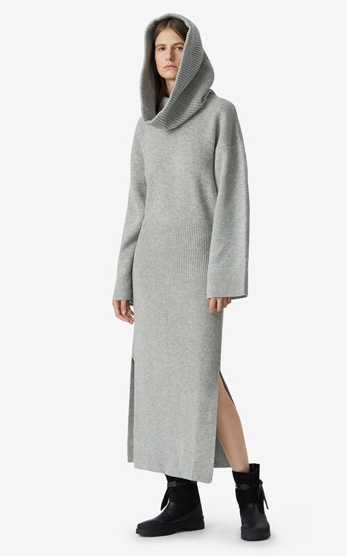 PALE GREY Long dress with hood for women KENZO