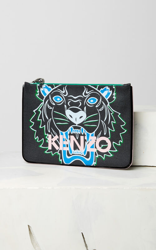 BLACK A4 Tiger clutch for women KENZO