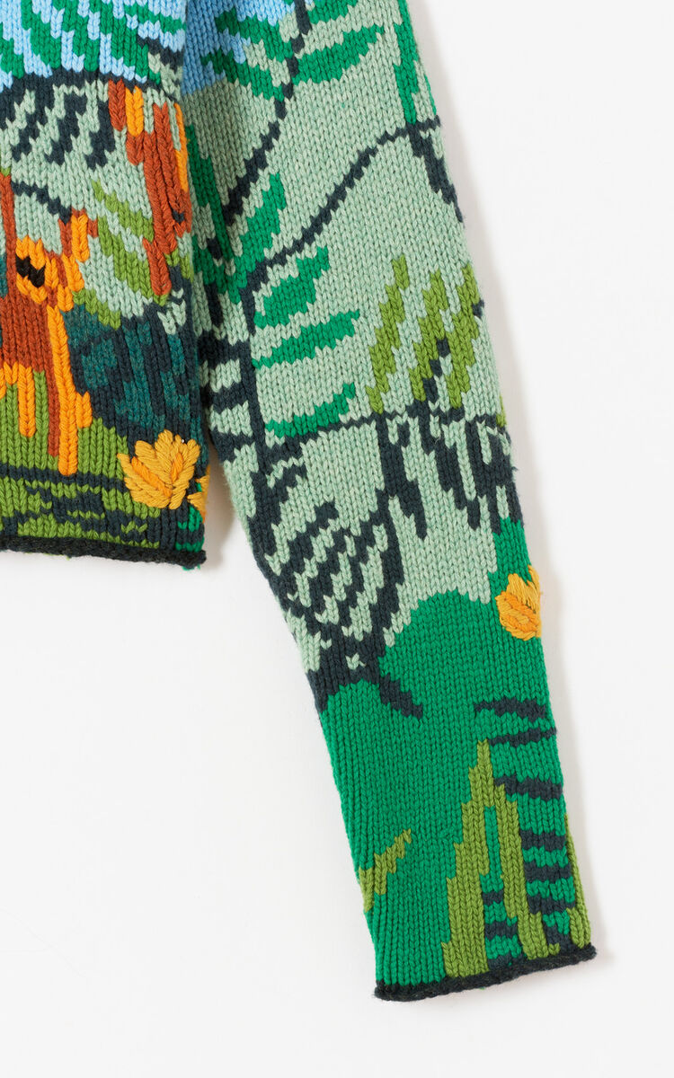 MULTICOLOR Hand-embroidered cropped jumper for women KENZO