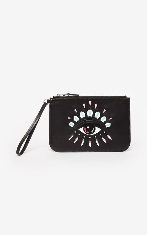 BLACK A5 Kontact Eye clutch for unisex KENZO