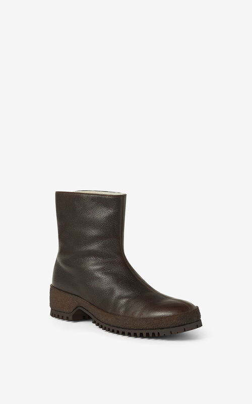 DARK BROWN Grained leather ankle boots for unisex KENZO