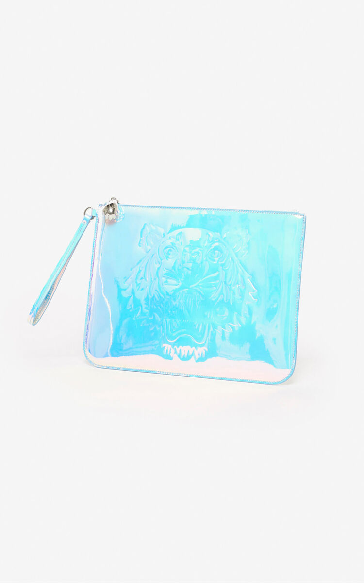 WHITE A4 Tiger pouch for unisex KENZO