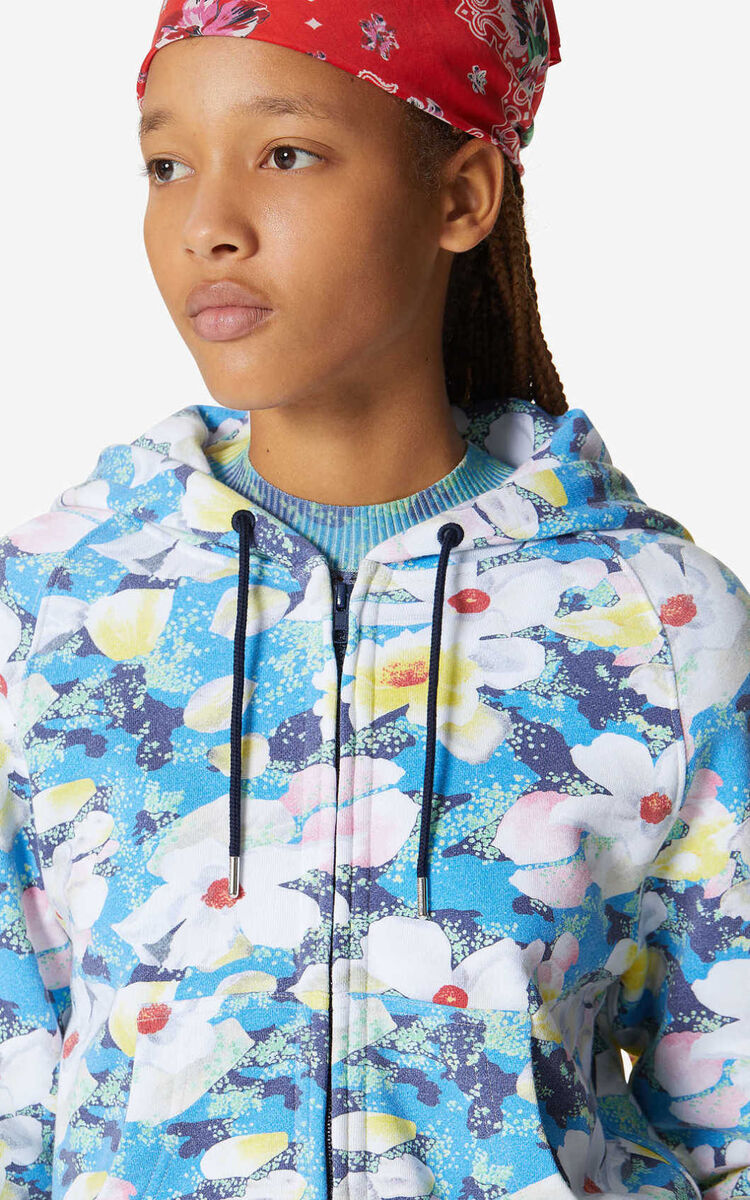 CYAN 'Gardenias' sweatshirt with zip for women KENZO