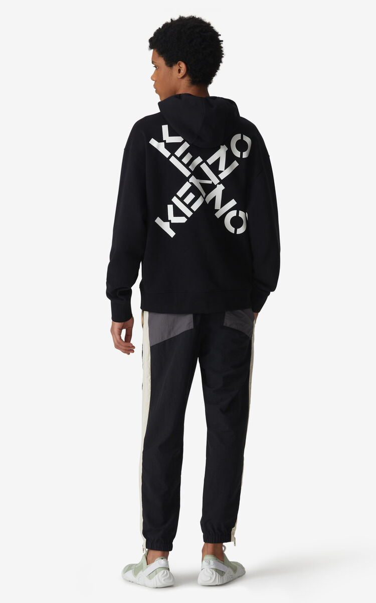 BLACK KENZO Sport 'Triple X' hoodie sweatshirt for men