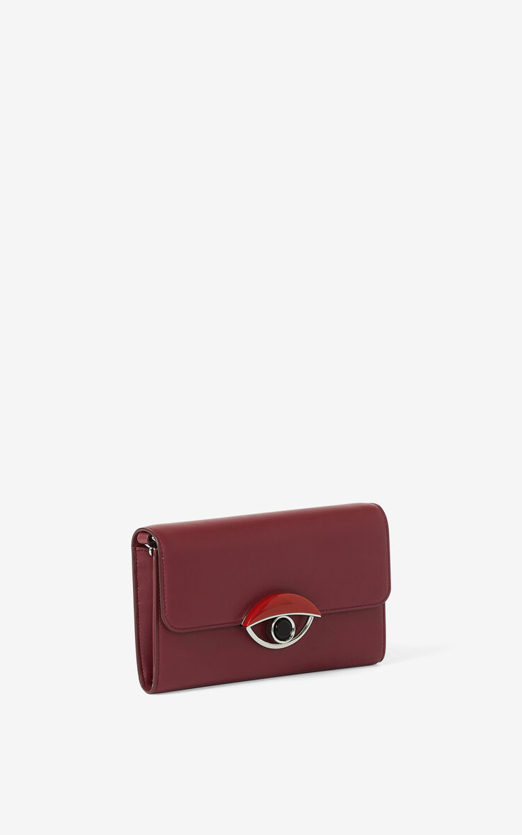 MAGENTA TALI leather wallet with chain for women KENZO