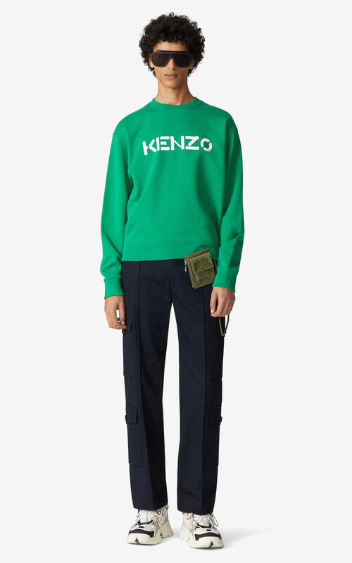 GREEN KENZO Logo sweatshirt for men