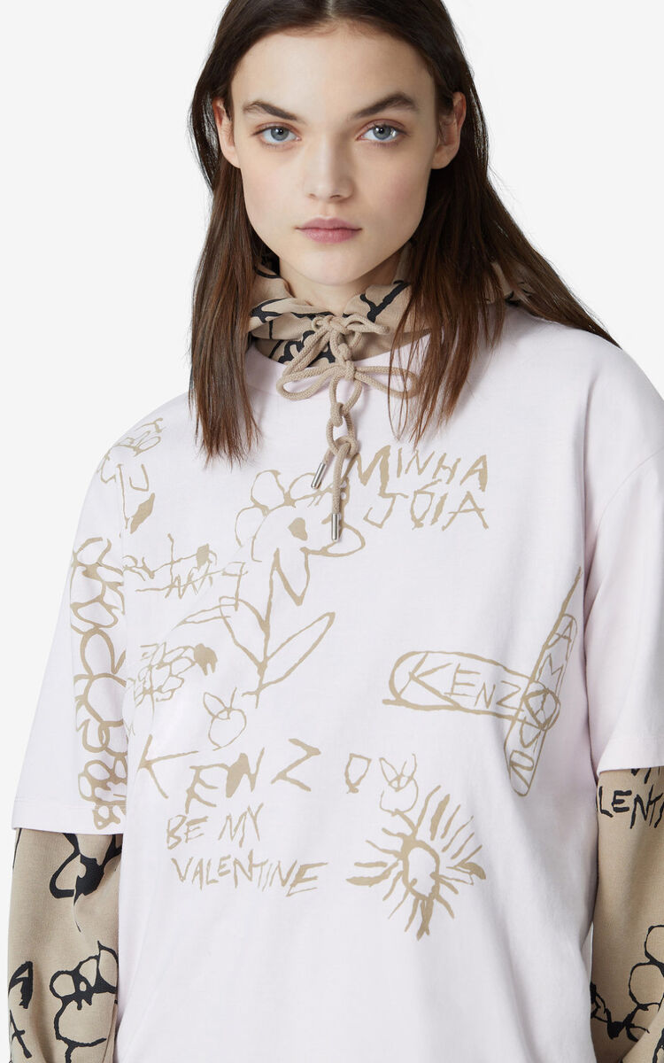FADED PINK Valentine's Day Capsule 'Valentine's flowers' oversize T-shirt for women KENZO