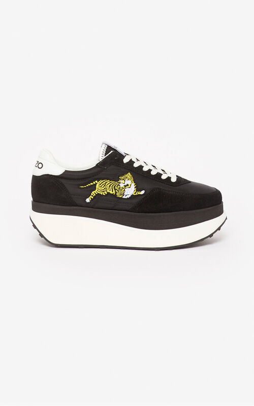 BLACK KENZO MOVE platform sneakers for women
