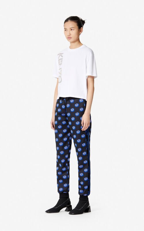 BLACK Jacquard 'Passion Flower' trousers for women KENZO