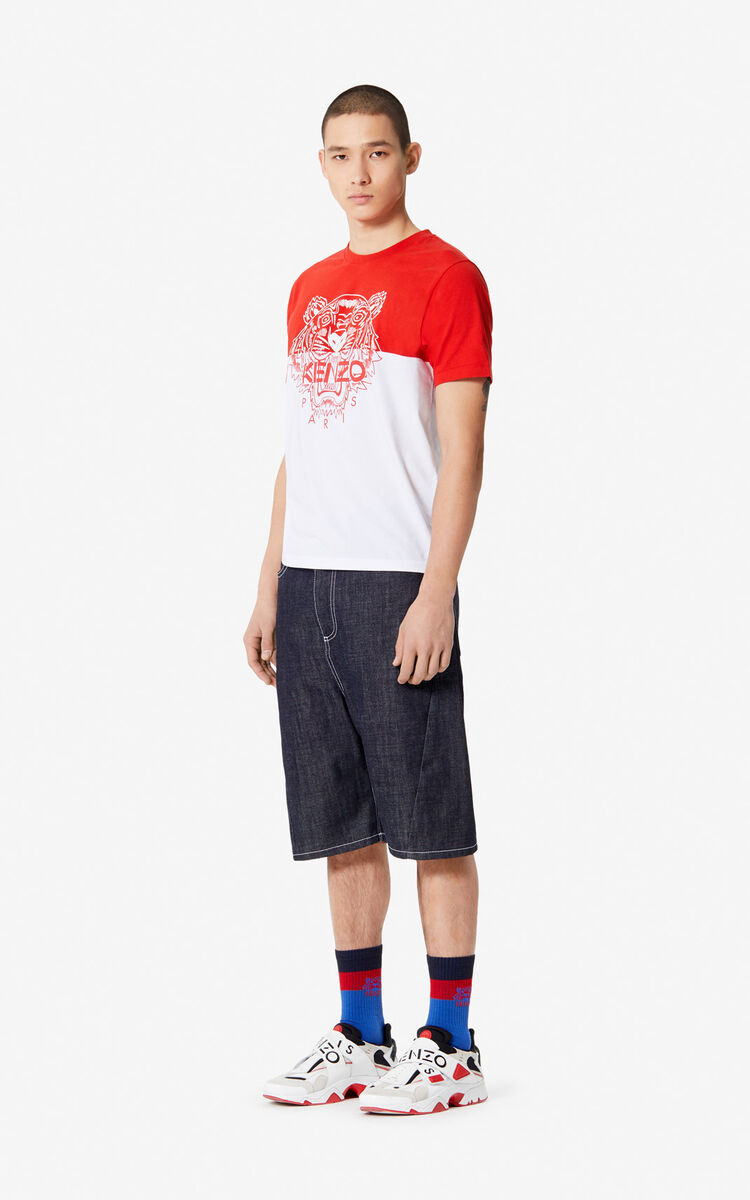 MEDIUM RED 'Colorblock Tiger' t-shirt for men KENZO