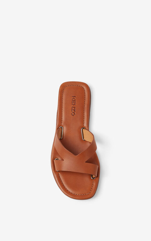 DARK BEIGE OPANKA flat leather mules for unisex KENZO
