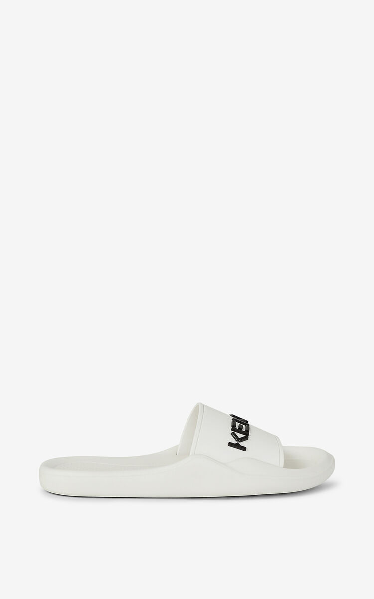 WHITE Pool KENZO Logo flip flops for unisex
