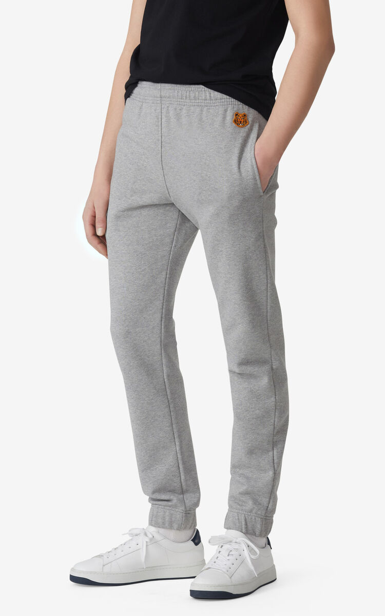 PEARL GREY Tiger Crest jogging trousers for men KENZO