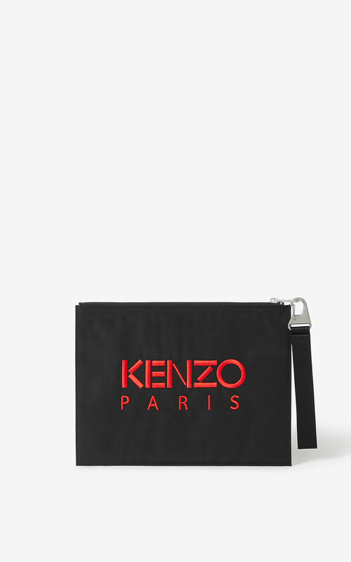 BLACK 'Chinese New Year Capsule' Kampus Tiger large clutch for unisex KENZO