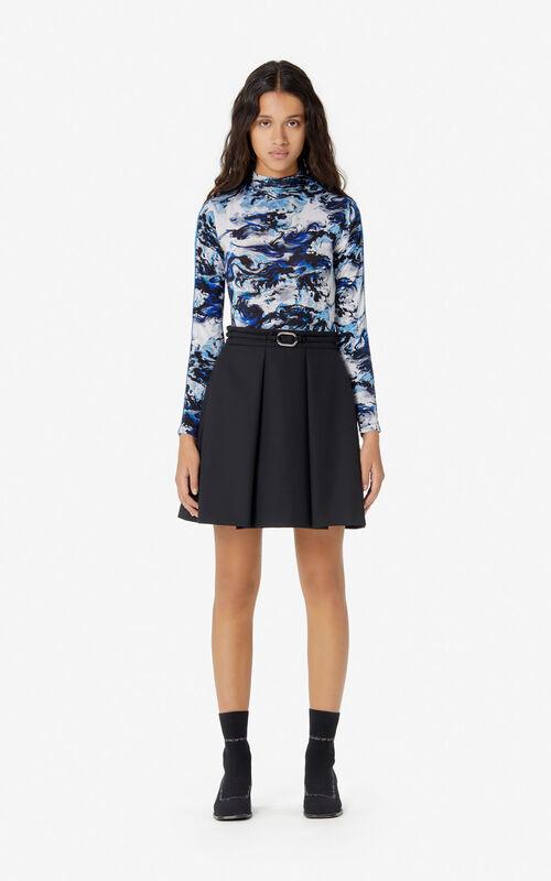 BLACK Belted skirt for women KENZO