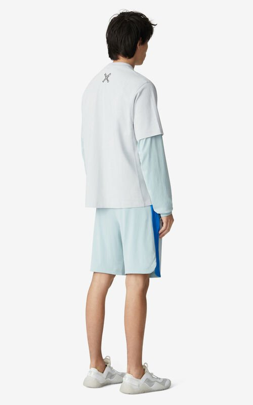 PALE GREY KENZO Sport loose T-shirt for men