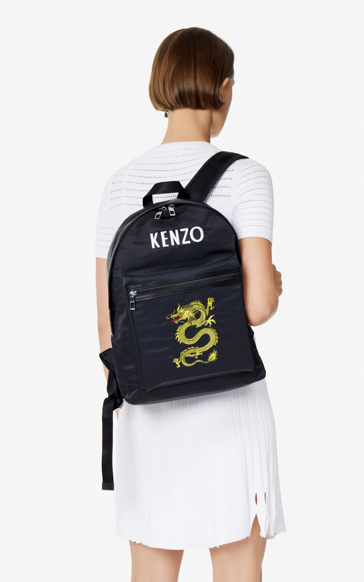BLACK Large 'Dragon' backpack for men KENZO