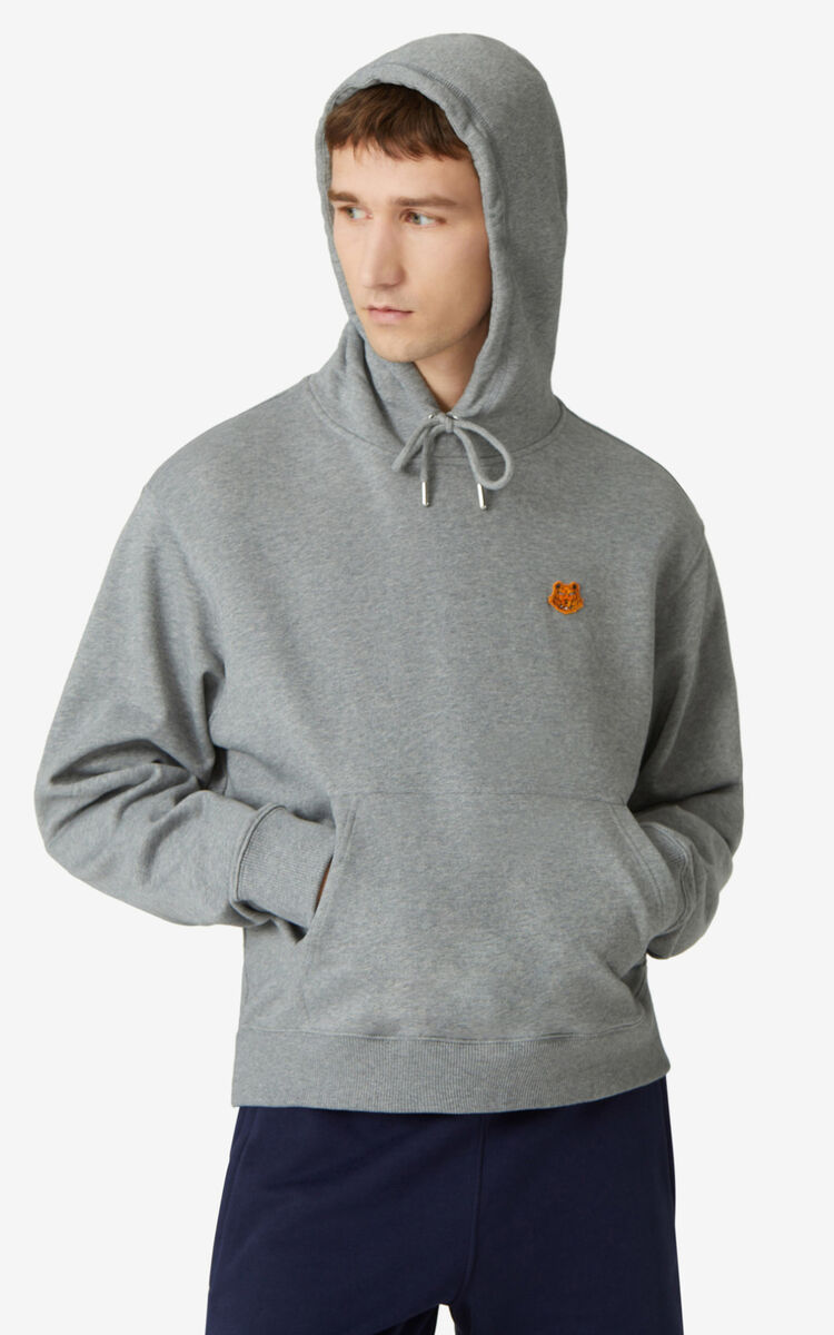 DOVE GREY Tiger Crest hooded sweatshirt for men KENZO