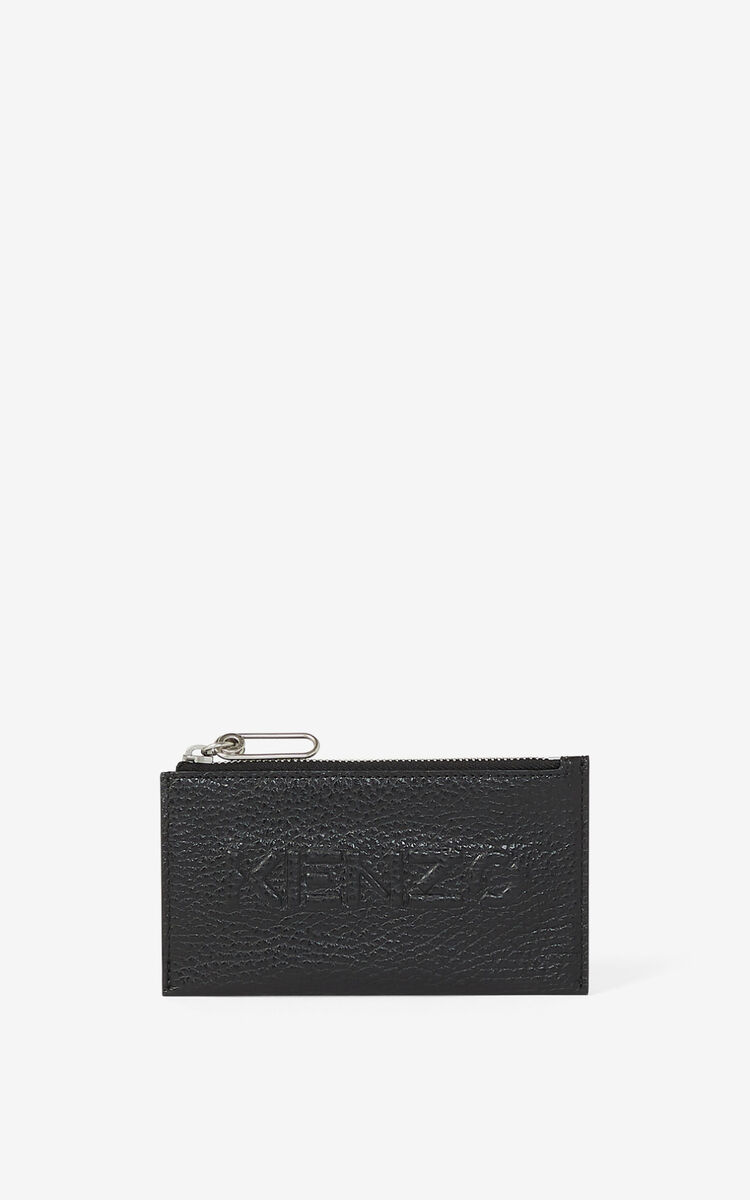 BLACK KENZO Imprint zipped grained leather cardholder  for unisex