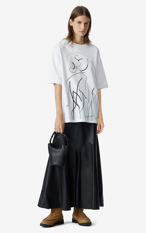 WHITE T-shirt with Júlio Pomar illustration for women KENZO