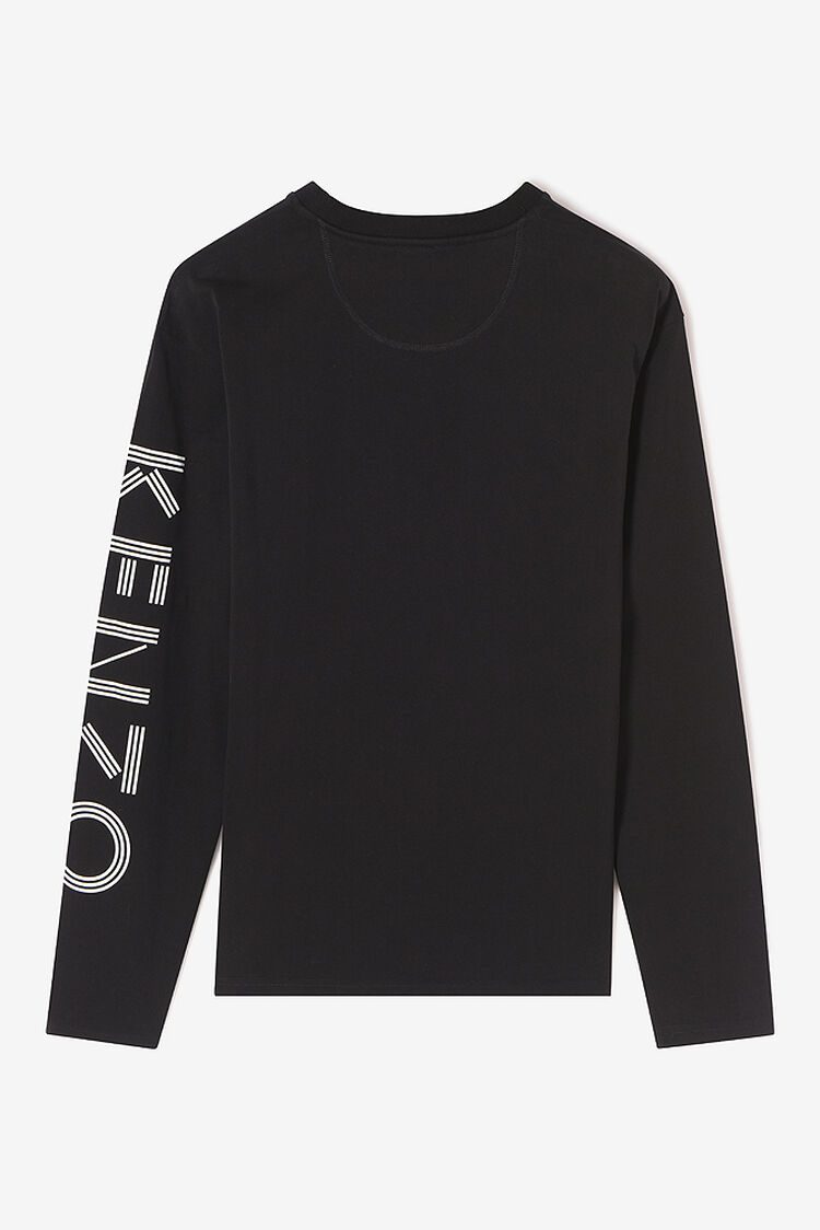 BLACK Long sleeves SKATE Tshirt for men KENZO